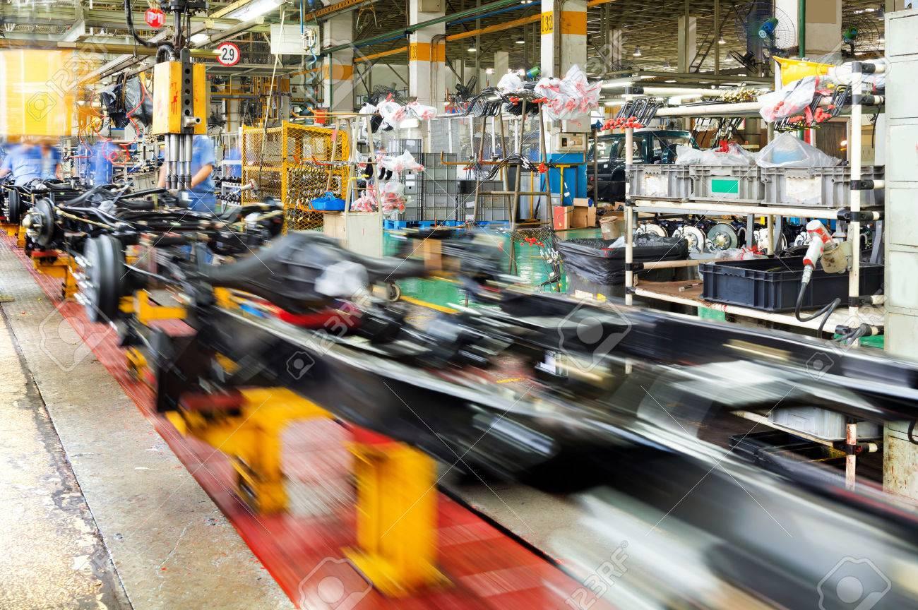 actory floor, car production line, motion blur picture. - 36841887