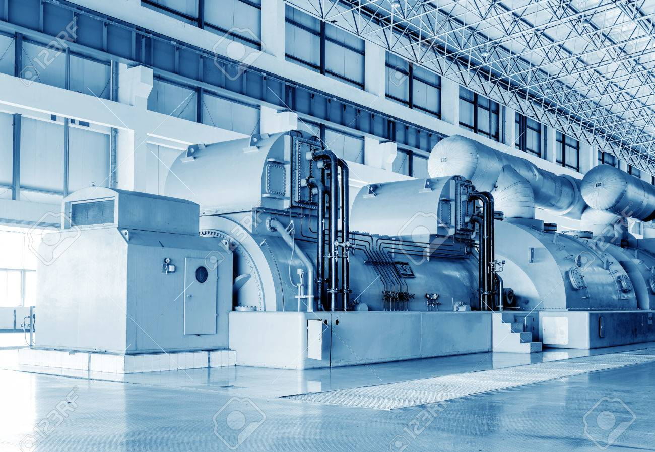 Thermal power plants, large-scale thermal power machine, empty shop. - 36841889
