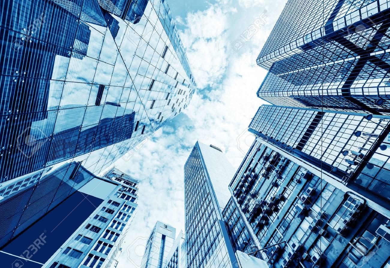 Toned image of modern office buildings in central Hong Kong. Standard-Bild - 37342337