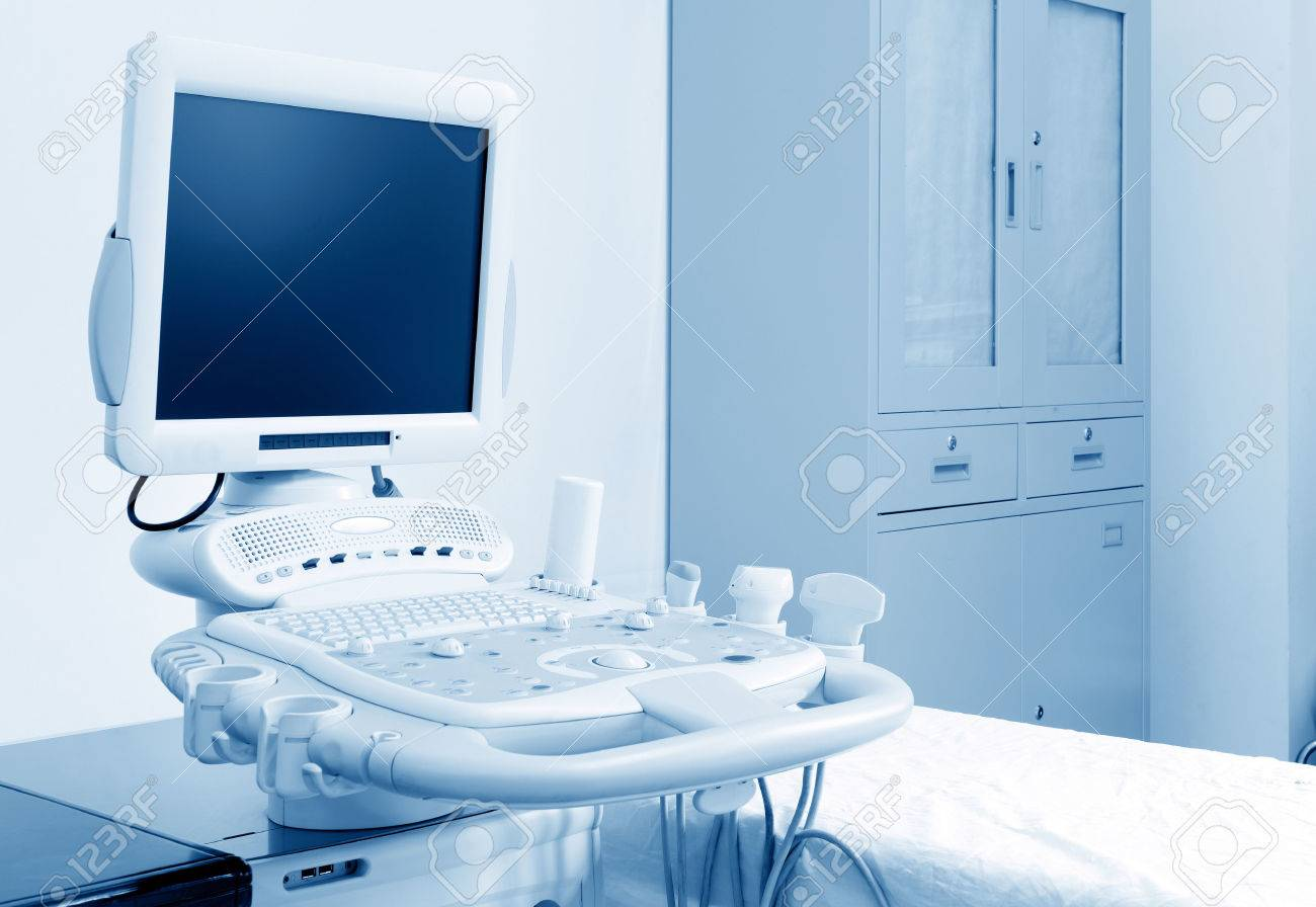 Interior of examination room with ultrasonography machine in hospital Standard-Bild - 37342977