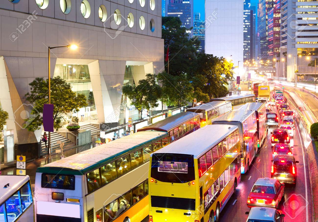 Road Central, Hong Kong China, evening peak traffic jam. - 38289420