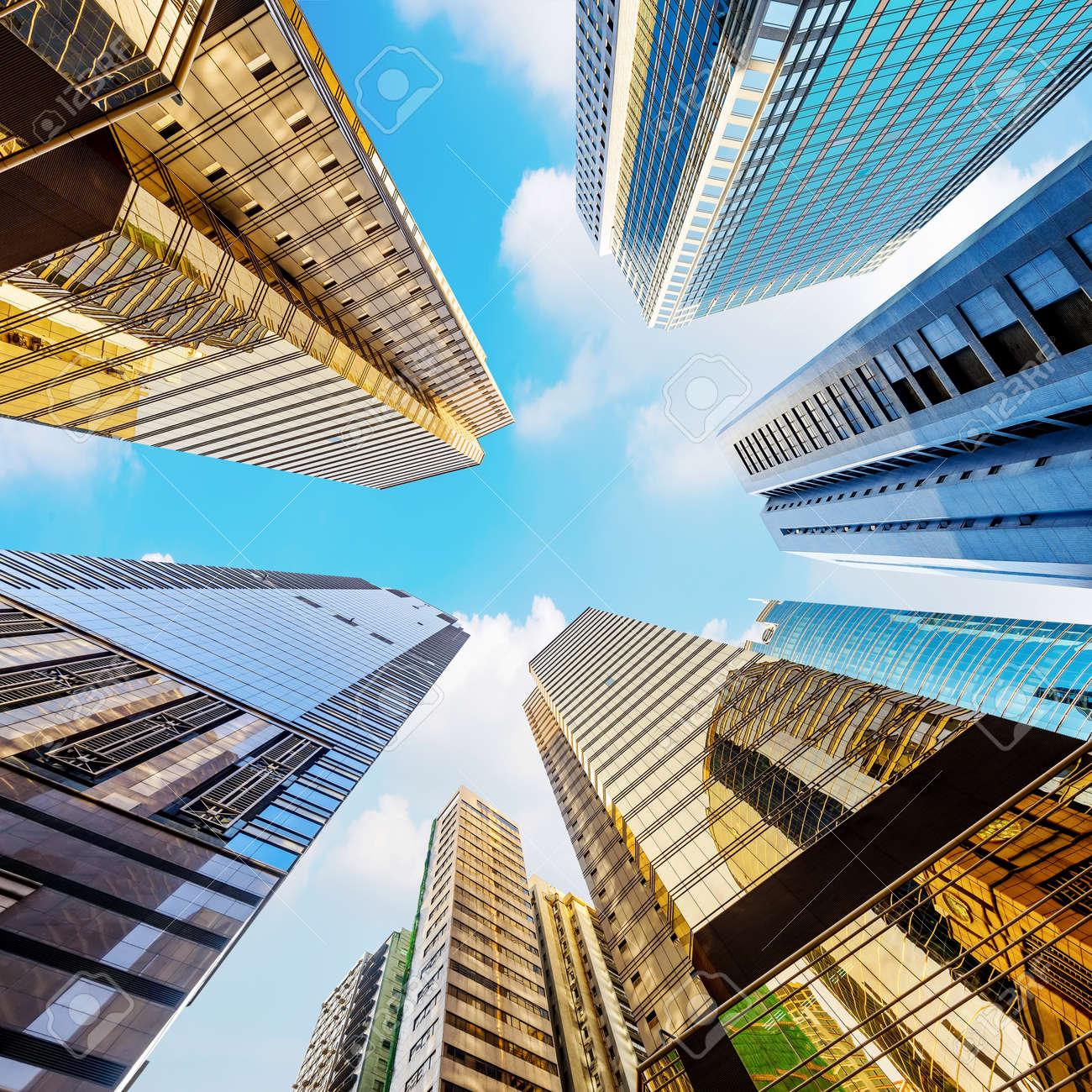 Modern skyscrapers in Central, Hong Kong Standard-Bild - 42797687