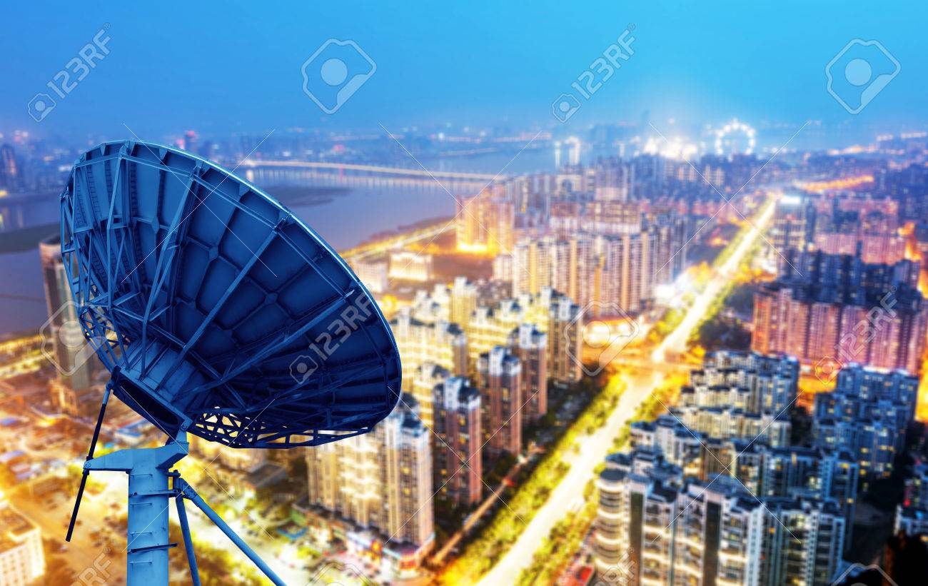 picture of parabolic satellite dish space technology receivers Standard-Bild - 43843782