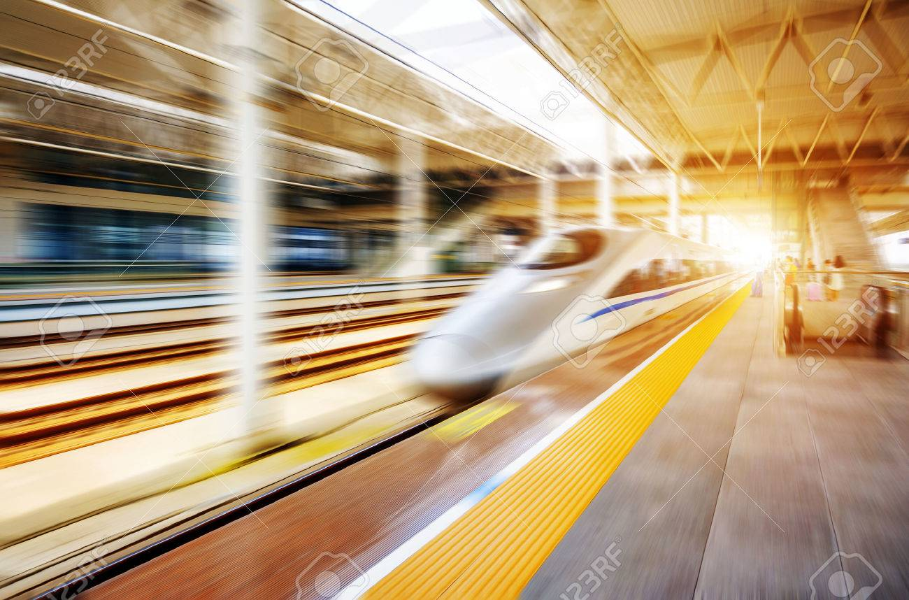 high speed train with motion blur Standard-Bild - 43844121