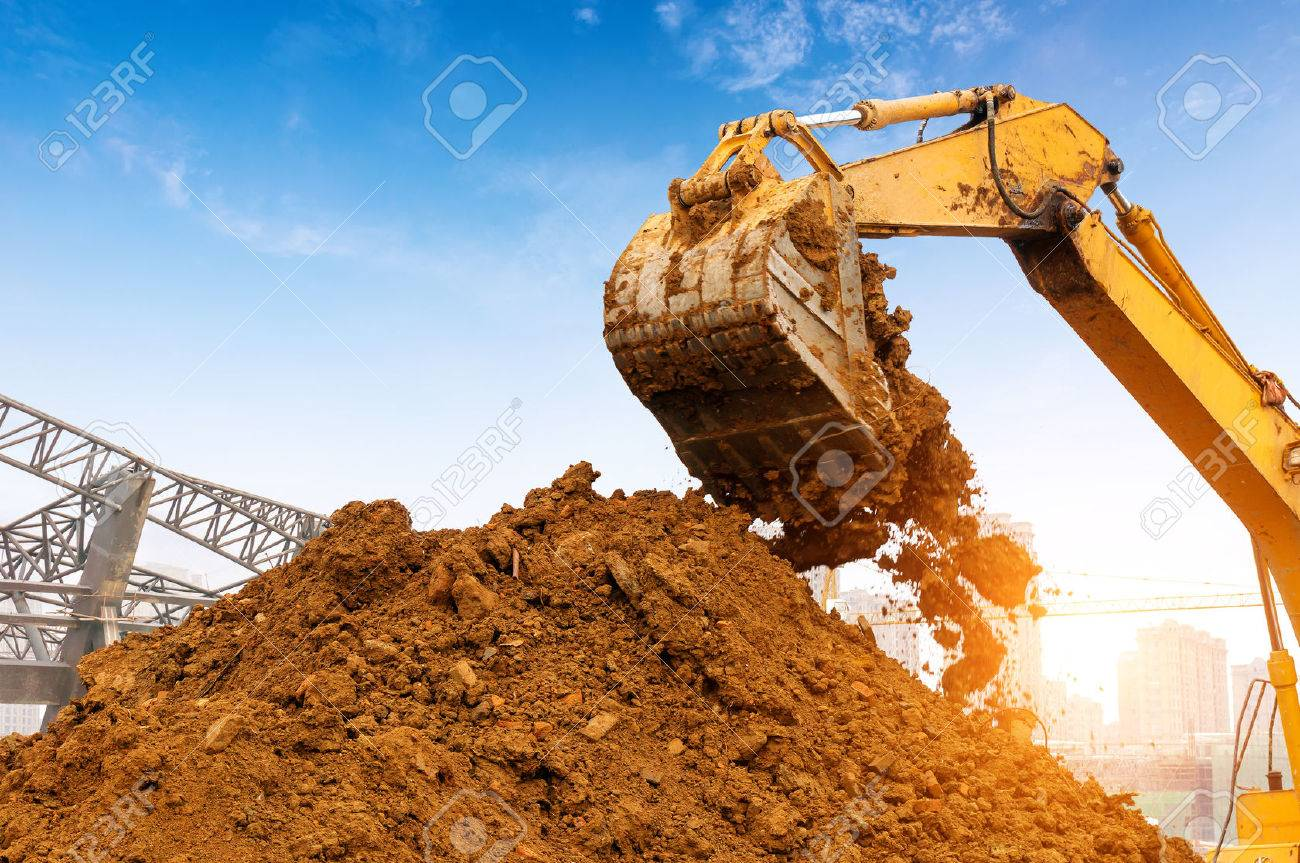 Close-up of a construction site excavator Standard-Bild - 54453633