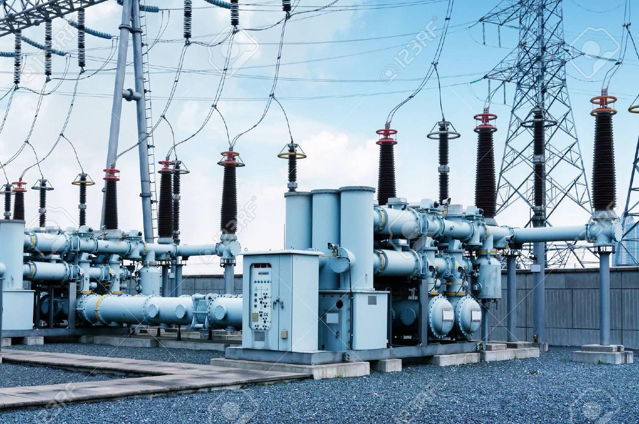 High voltage power transformer substation - 54453632