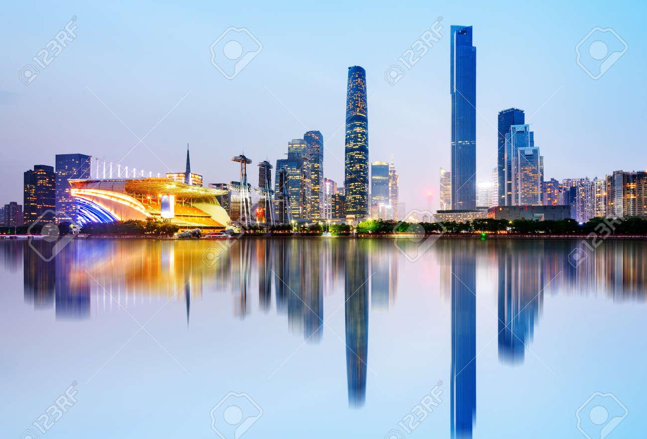 Modern urban night view, Pearl River New City, Guangzhou, China - 66135055