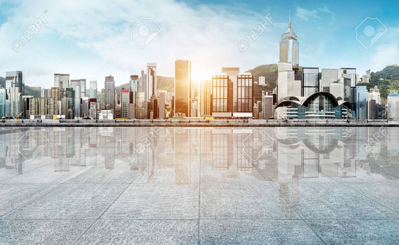 empty marble floor with cityscape and skyline in cloud sky - 66136030