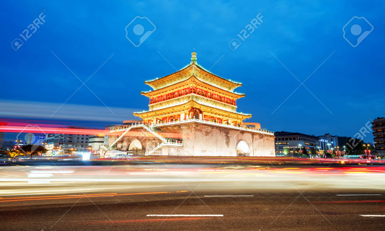 Xi'an , the starting point of the ancient silk road, beautiful bell tower at night, China - 88850195