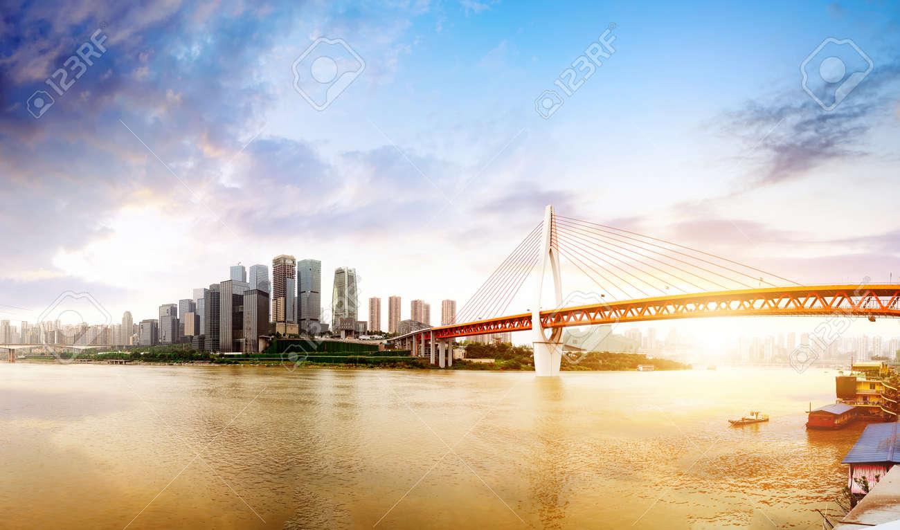 Twilight moment, the modern buildings in the Yangtze River, Chongqing, China. - 89830557