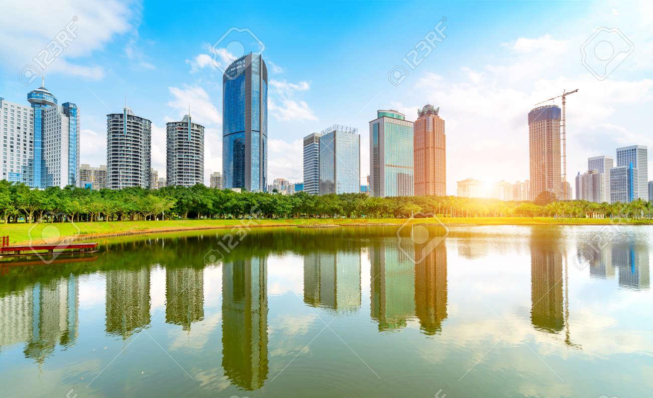 China Haikou Cityscape, high-rise by the lake. - 101270038