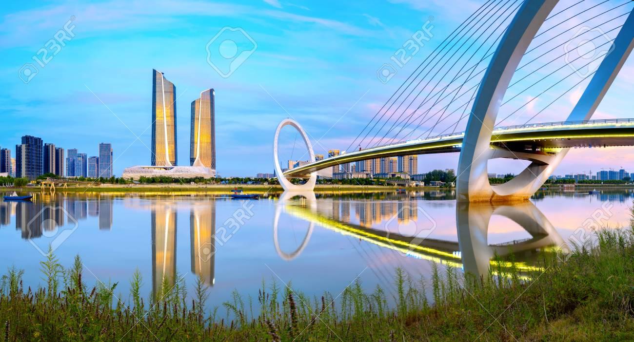 China Nanjing city skyline and modern buildings, twilight landscape. - 104152763