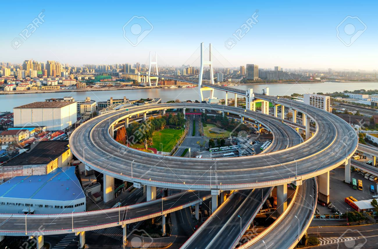 Nanpu Bridge, which was photographed in a special way, has no spectacle of driving. China Shanghai. - 104153139