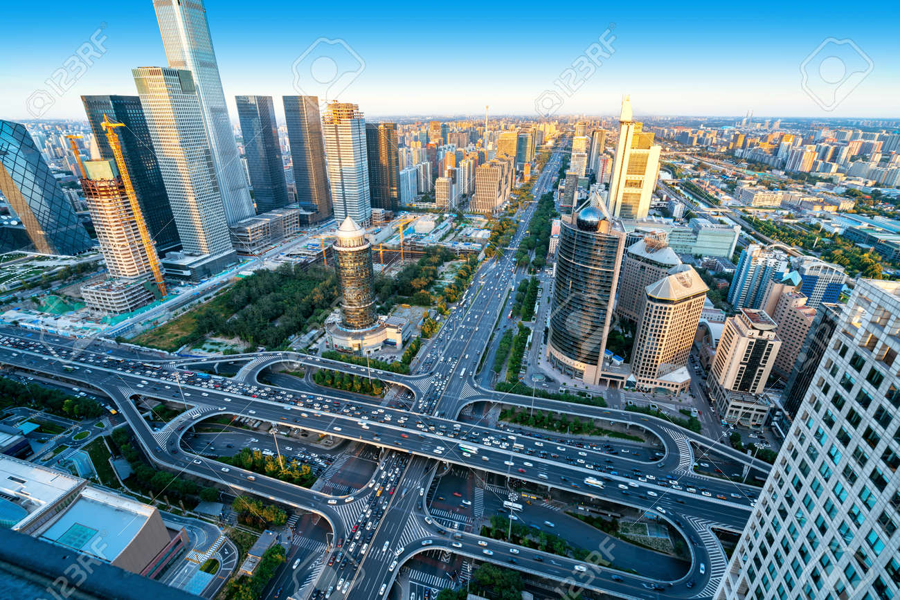 High-rise buildings and viaducts in the city's financial district, Beijing, China. - 109479386