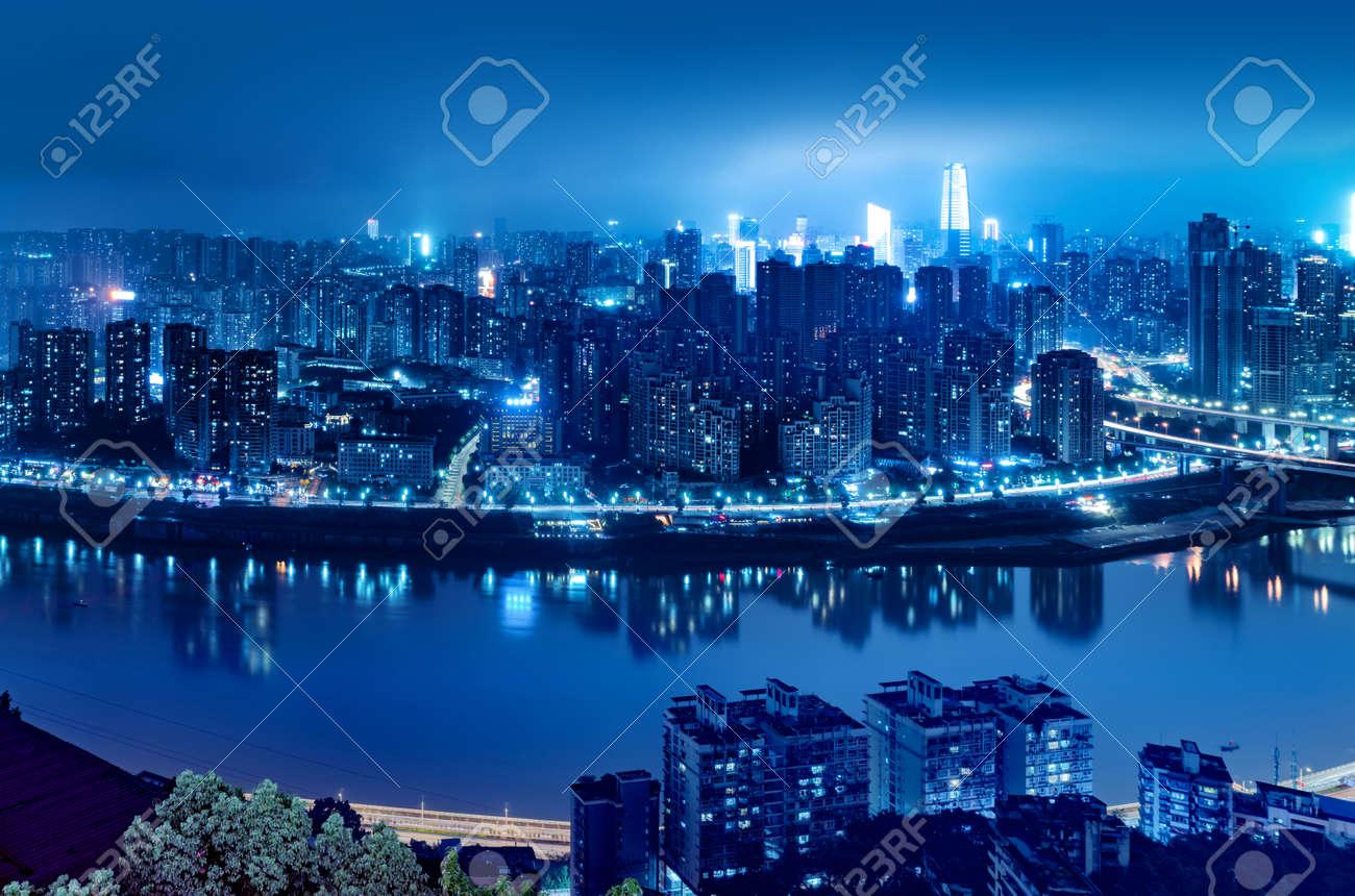 High-rise mountain city night, China's western city of Chongqing. - 133201665