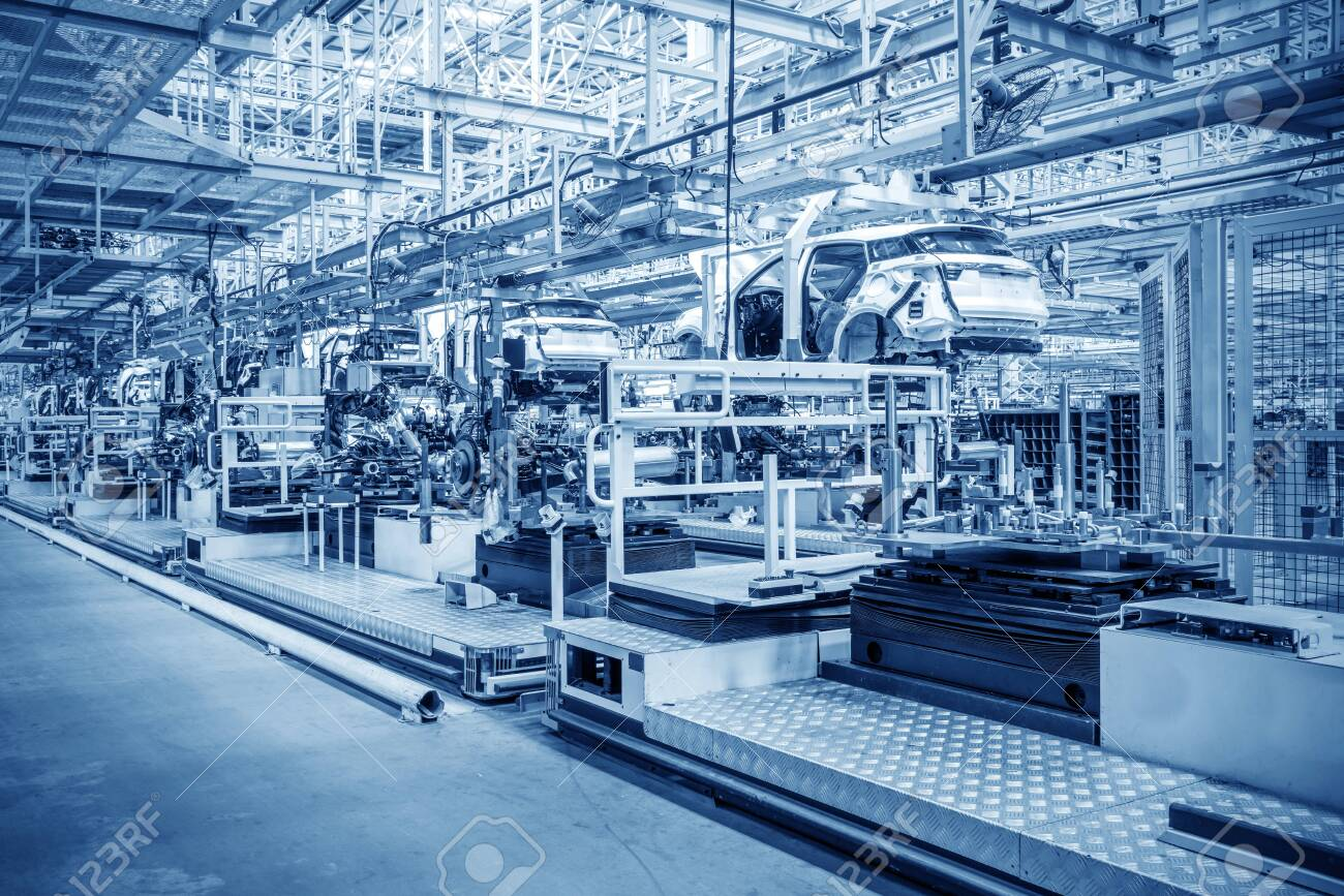 Modern automobile production line, automated production equipment. - 133804380