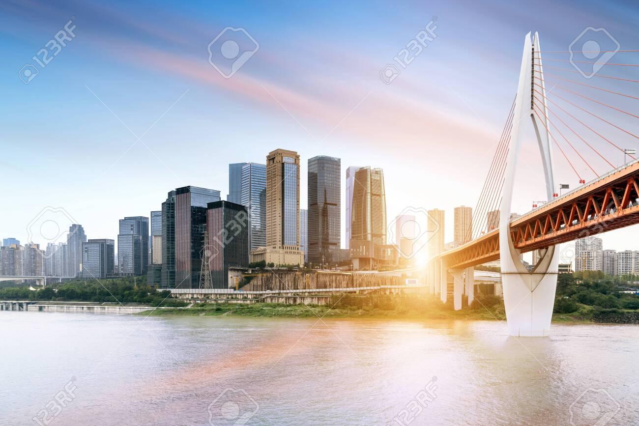 Chongqing city skyline, modern bridges and skyscrapers. - 136795849