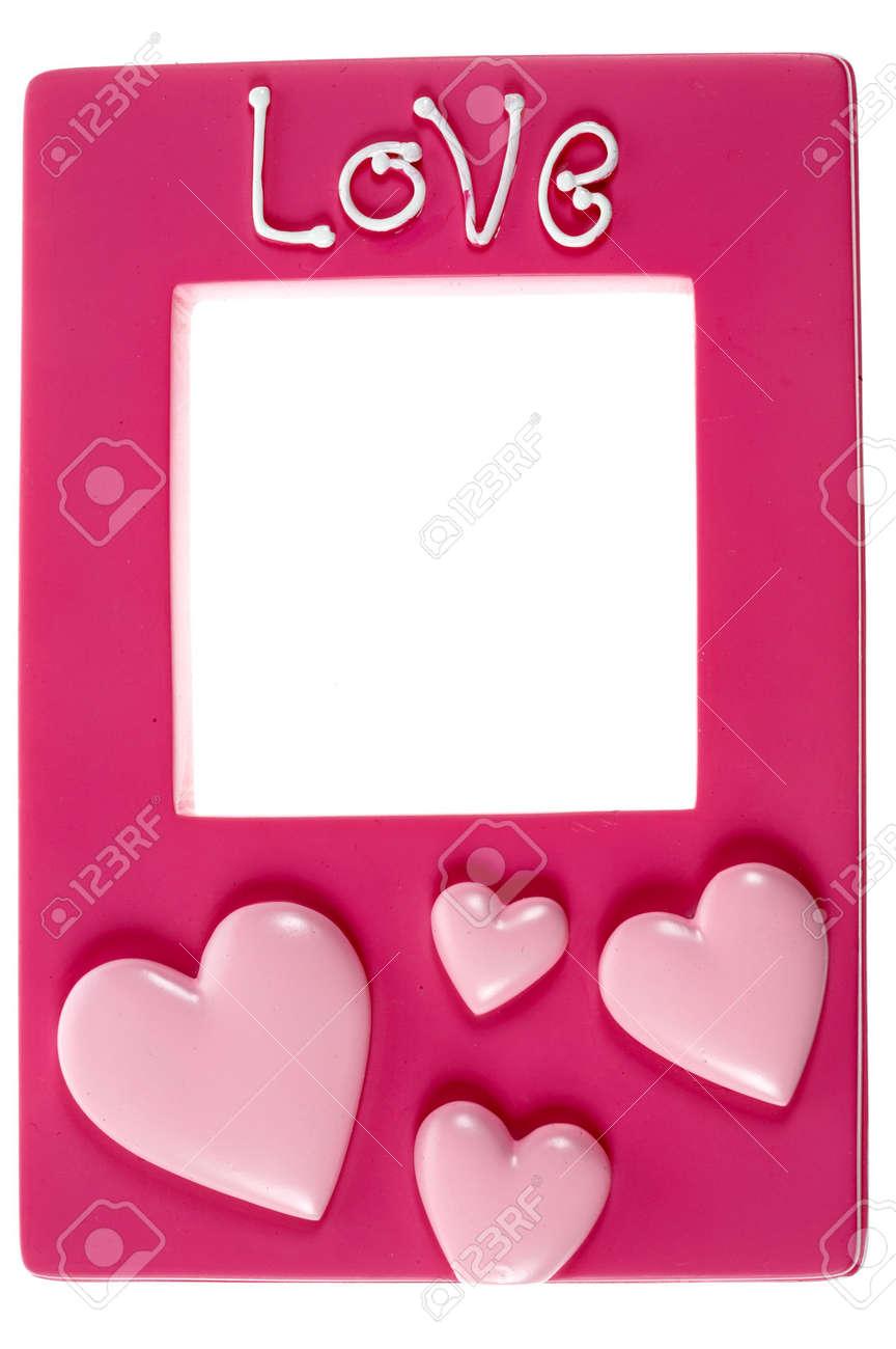 Pink Marco De Fotografía Con Las Palabras De Amor En Relieve Sobre ...