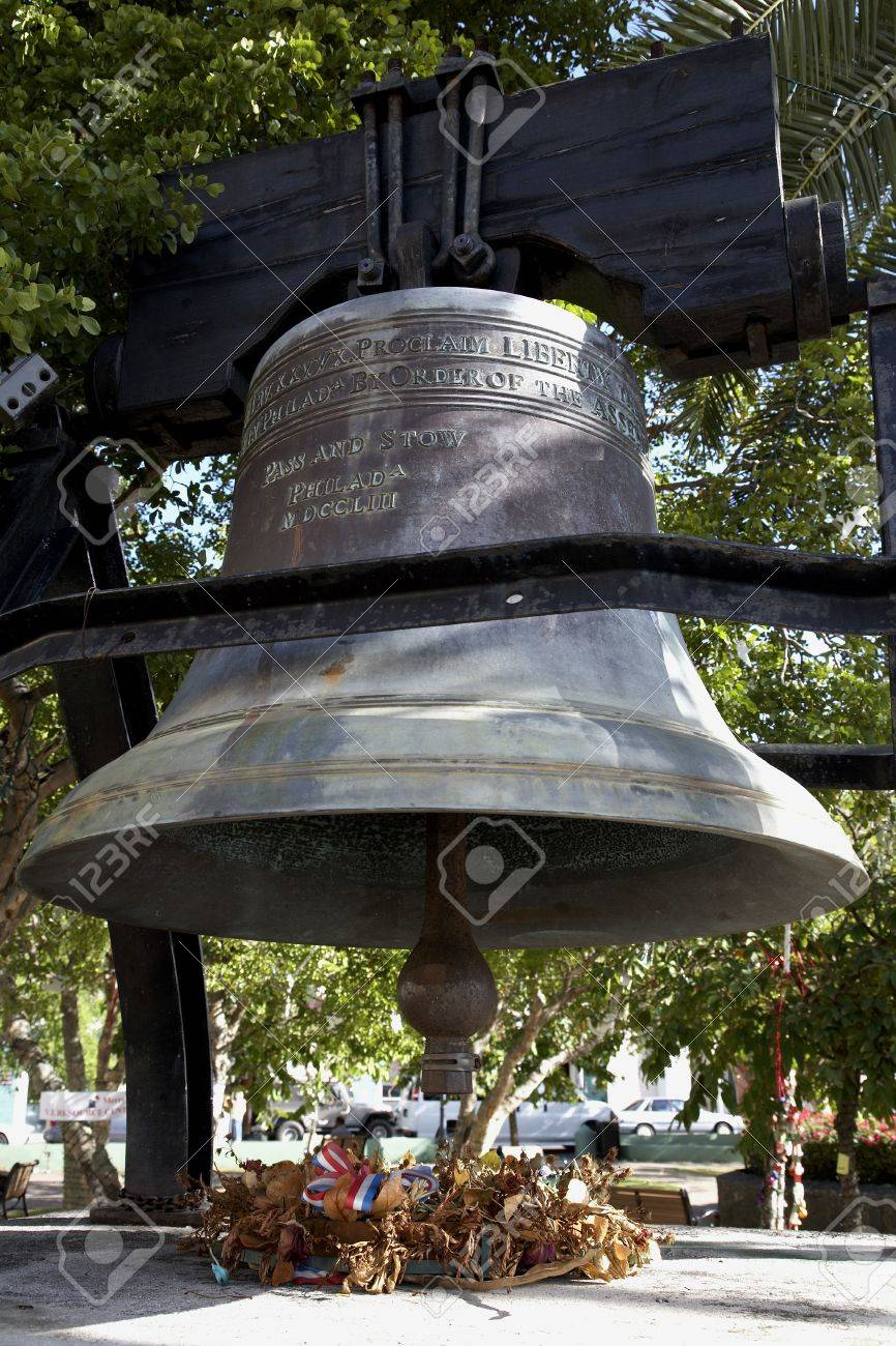 The liberty bell in emancipation gardens Charlotte Amalie St Thomas US Virgin islands lesser antilles eastern caribbean west indies Stock Photo - 726774