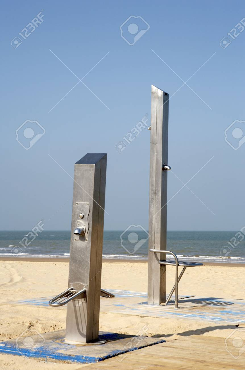 Stainless Steel Showers On Chipiona Beach Andalucia Southwestern Spain  Stock Photo   1080318
