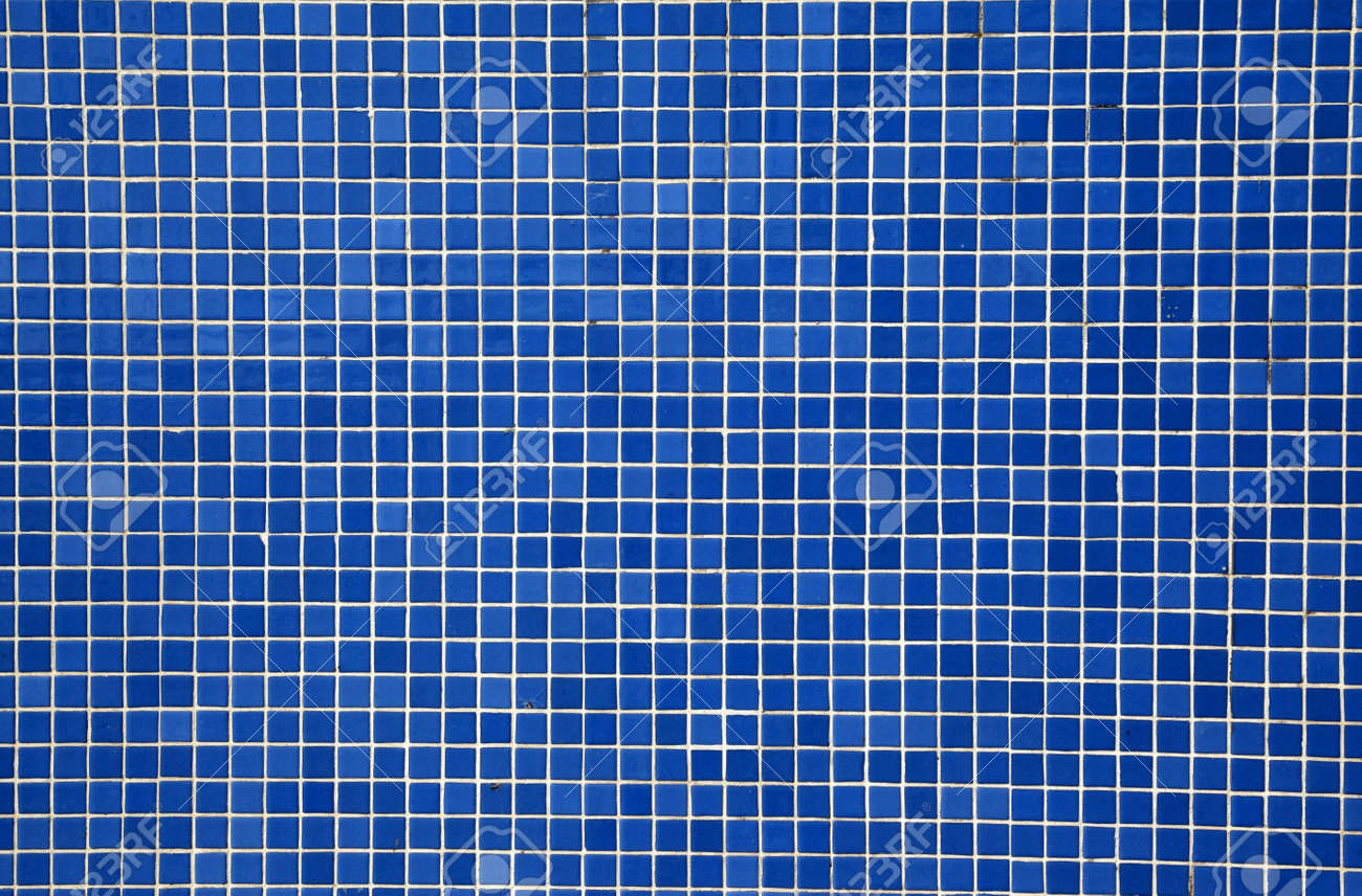 Blue Mosaic Tiles On A Wall Stock Photo, Picture And Royalty Free ...
