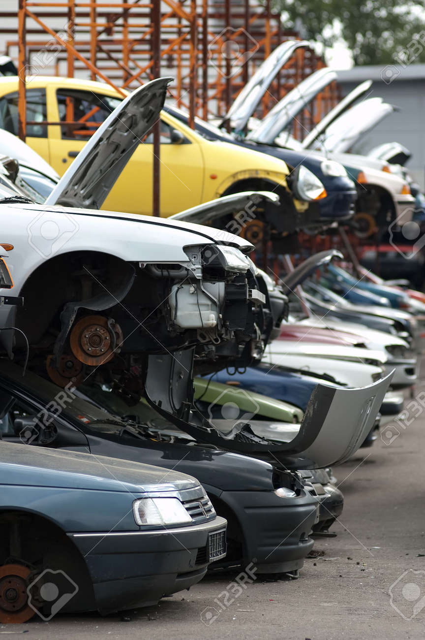 Scrapyard with used, broken cars Stock Photo - 5529417