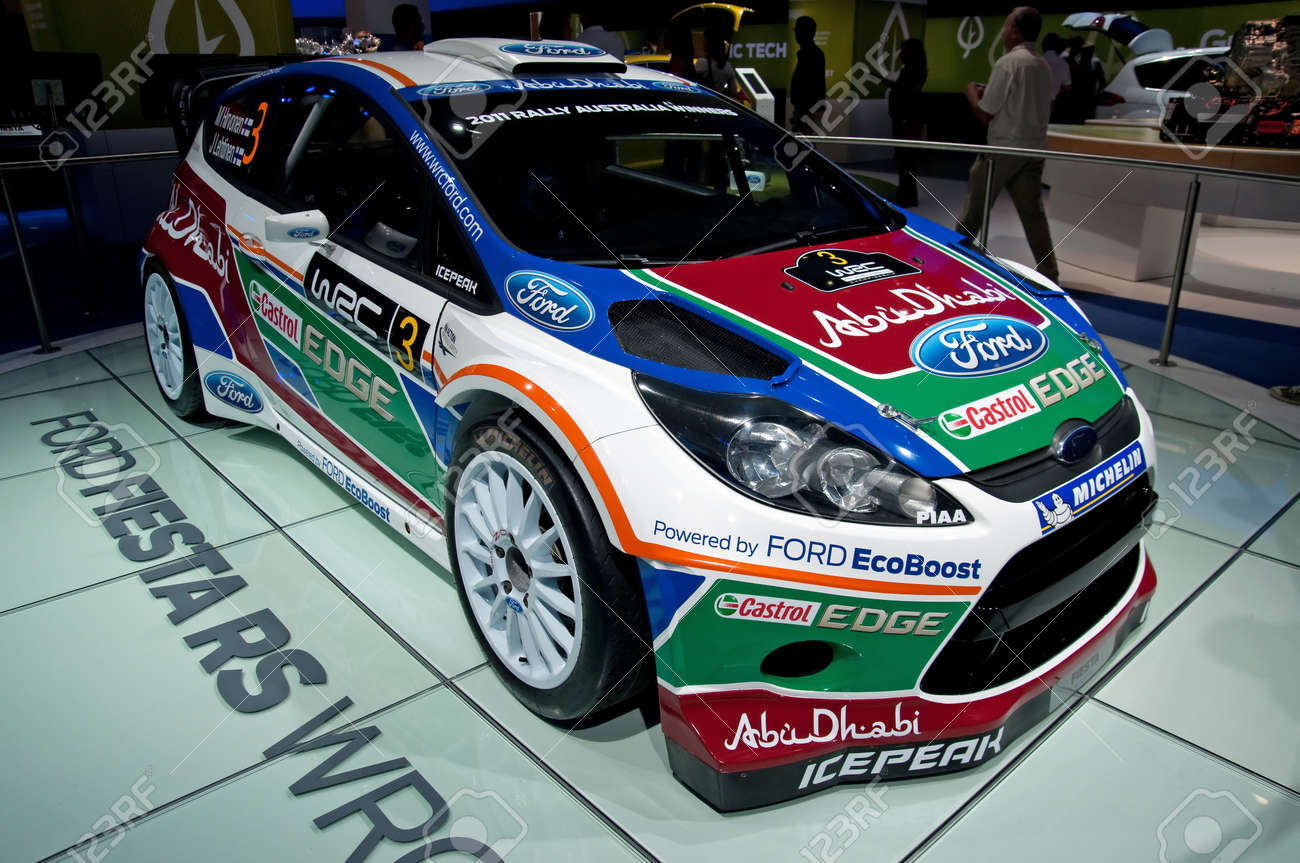 Frankfurt sep 25 ford fiesta rs wrc rally car presented at the 64th internationale