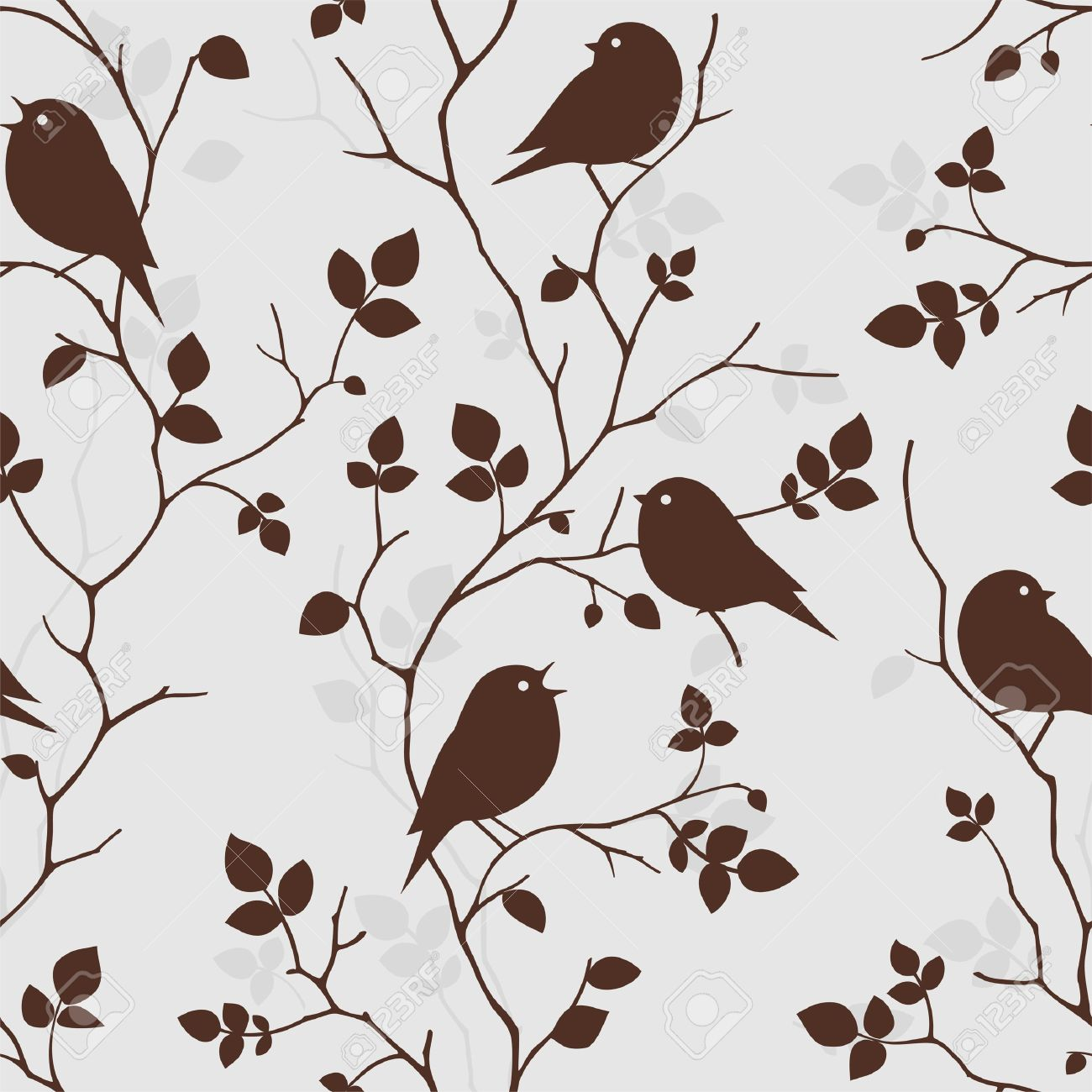 Wallpaper With Birds Seamless Pattern Royalty Free Cliparts Vectors
