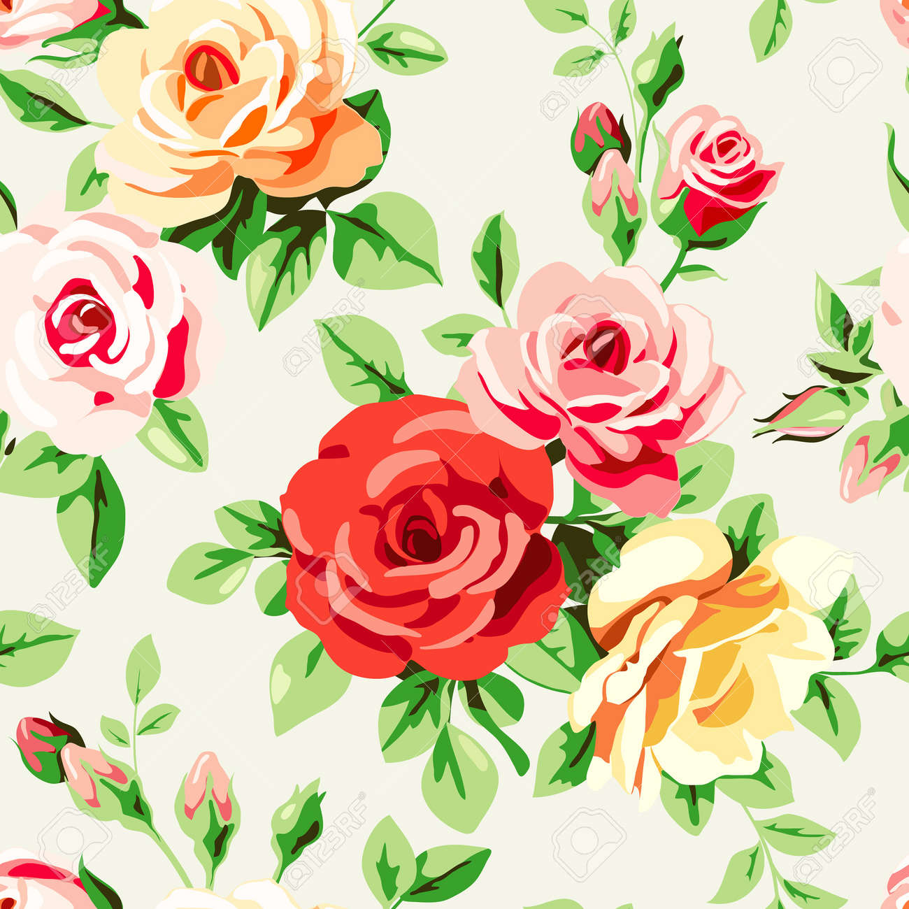 Wallpaper With Roses Royalty Free Cliparts Vectors And Stock