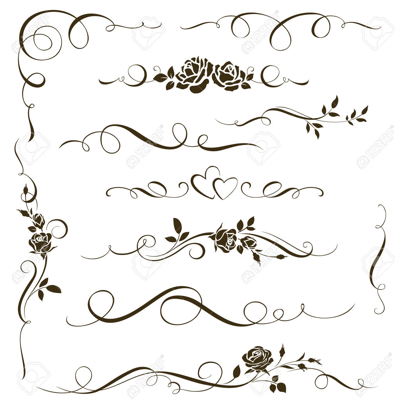 Set of floral calligraphic elements. Decorative roses - 53067741
