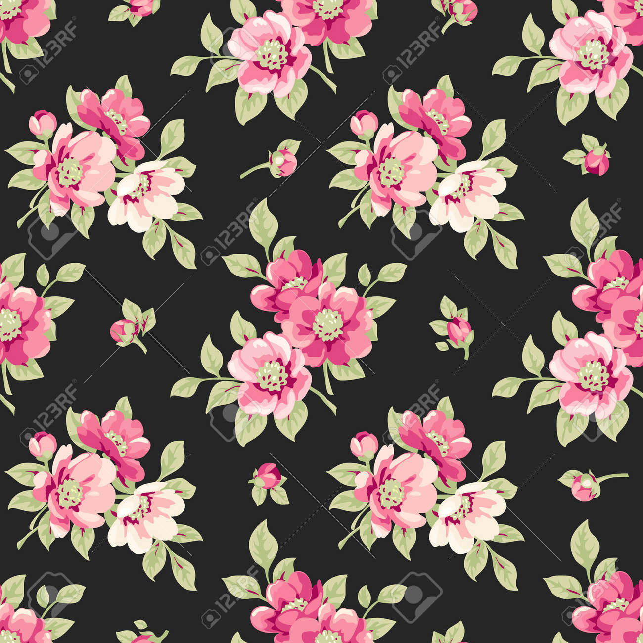 Seamless Pattern With Pink Flowers Vintage Floral Pattern With