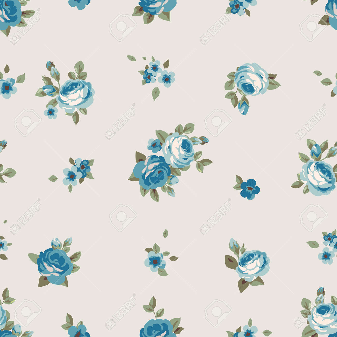 Seamless Pattern With Blue Flowers Vintage Seamless Floral