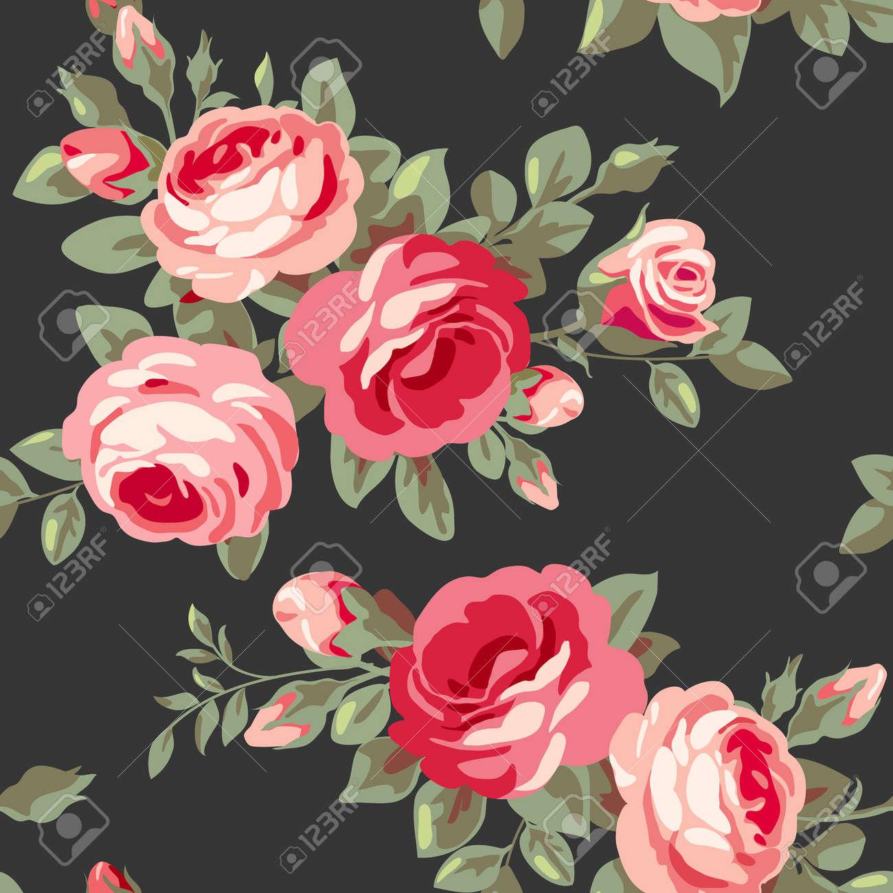 ピンクのバラとのシームレスなパターン 花が咲くとビンテージの