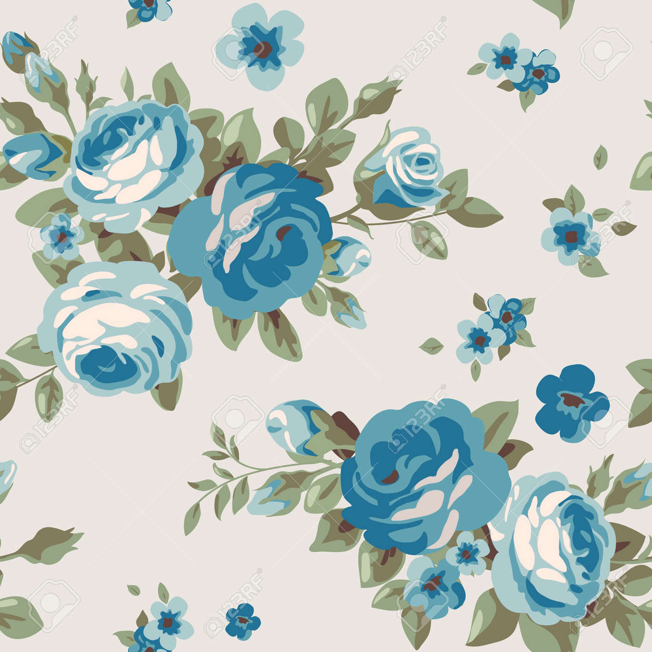 Seamless Pattern With Blue Flowers Vintage Floral Wallpaper Blooming Roses Stock Vector
