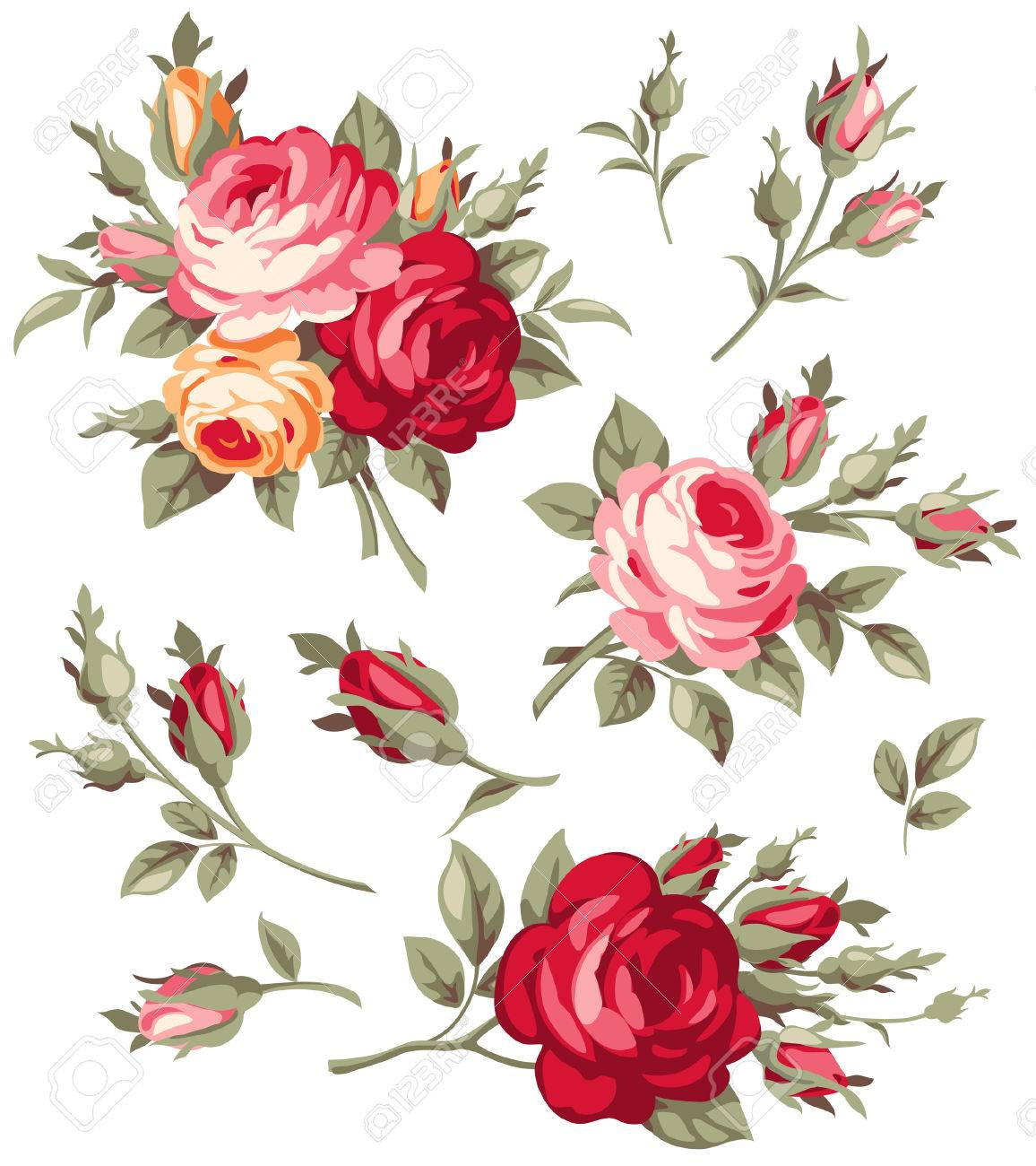 Decorative vintage rose and bud. Vector blooming flowers set for your design - 67955553