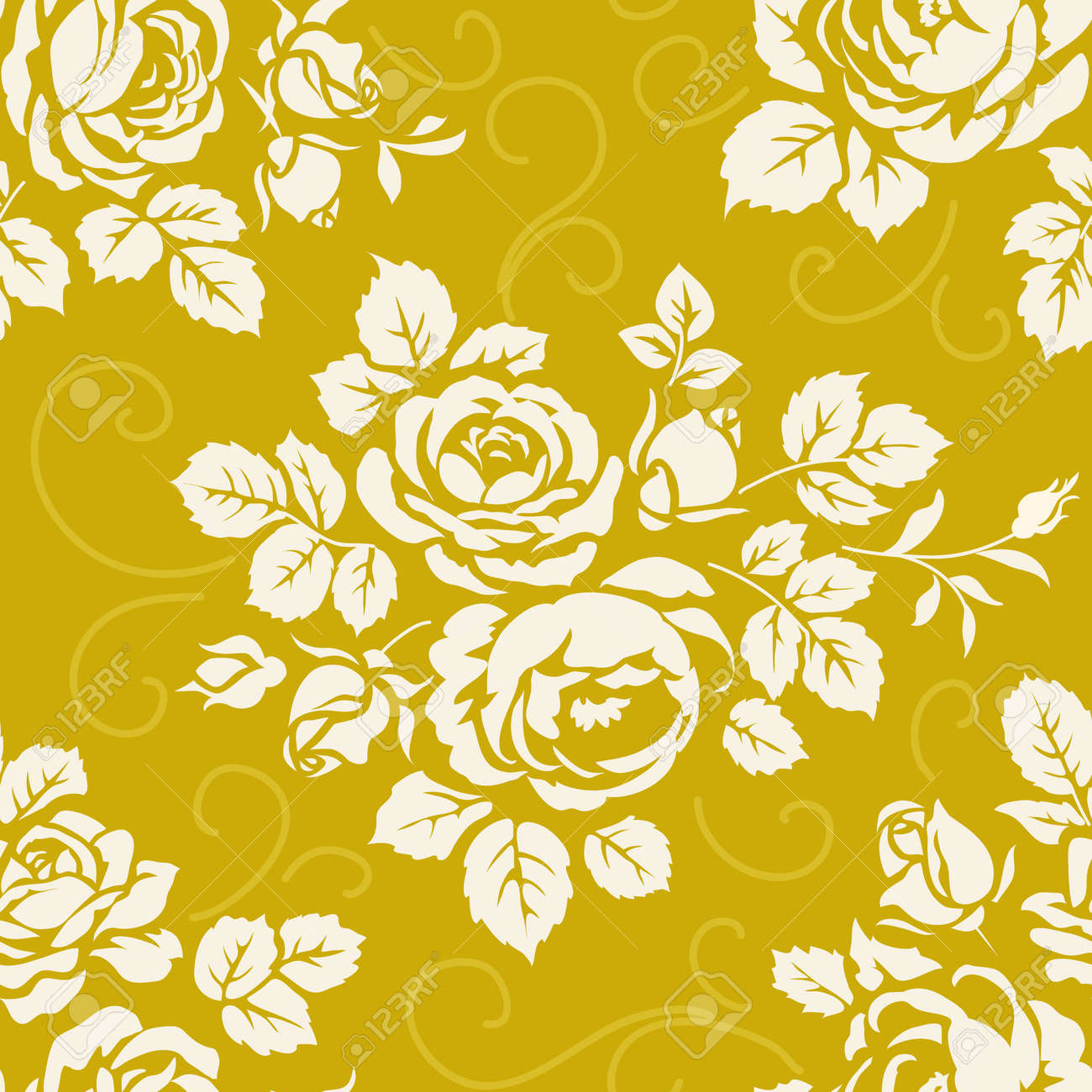 Seamless Pattern With Roses Vintage Background With Blooming