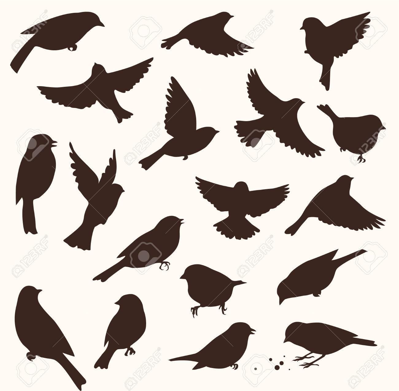 set of decorative birds silhouettes vector illustration royalty rh 123rf com cute bird silhouette vector sparrow silhouette vector