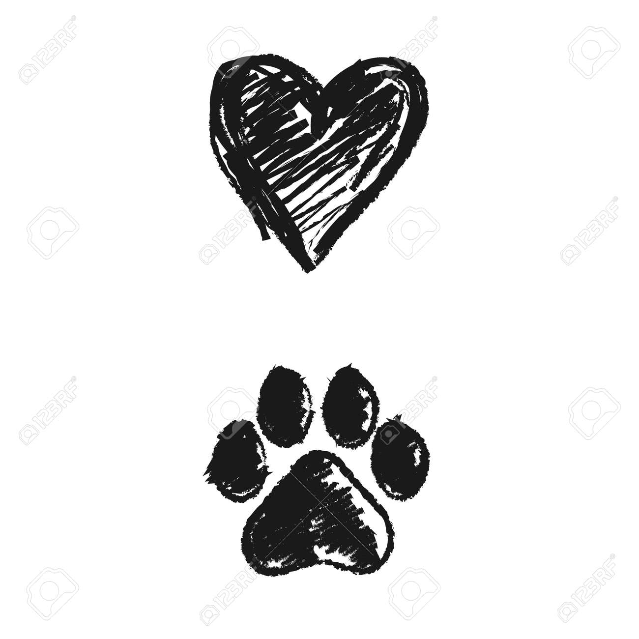 Hand Drawn Doodle Of Animal Footprint And Heart Vector Illustration