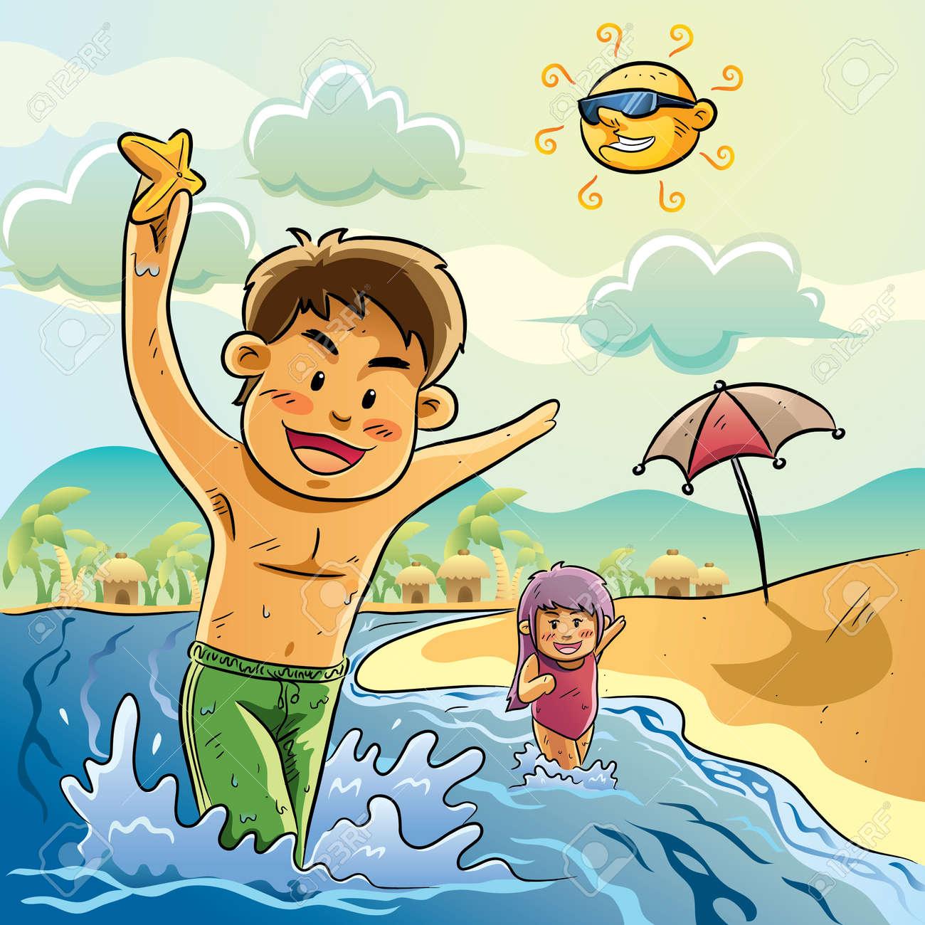 Kids Play On The Beach Stock Vector - 11068277