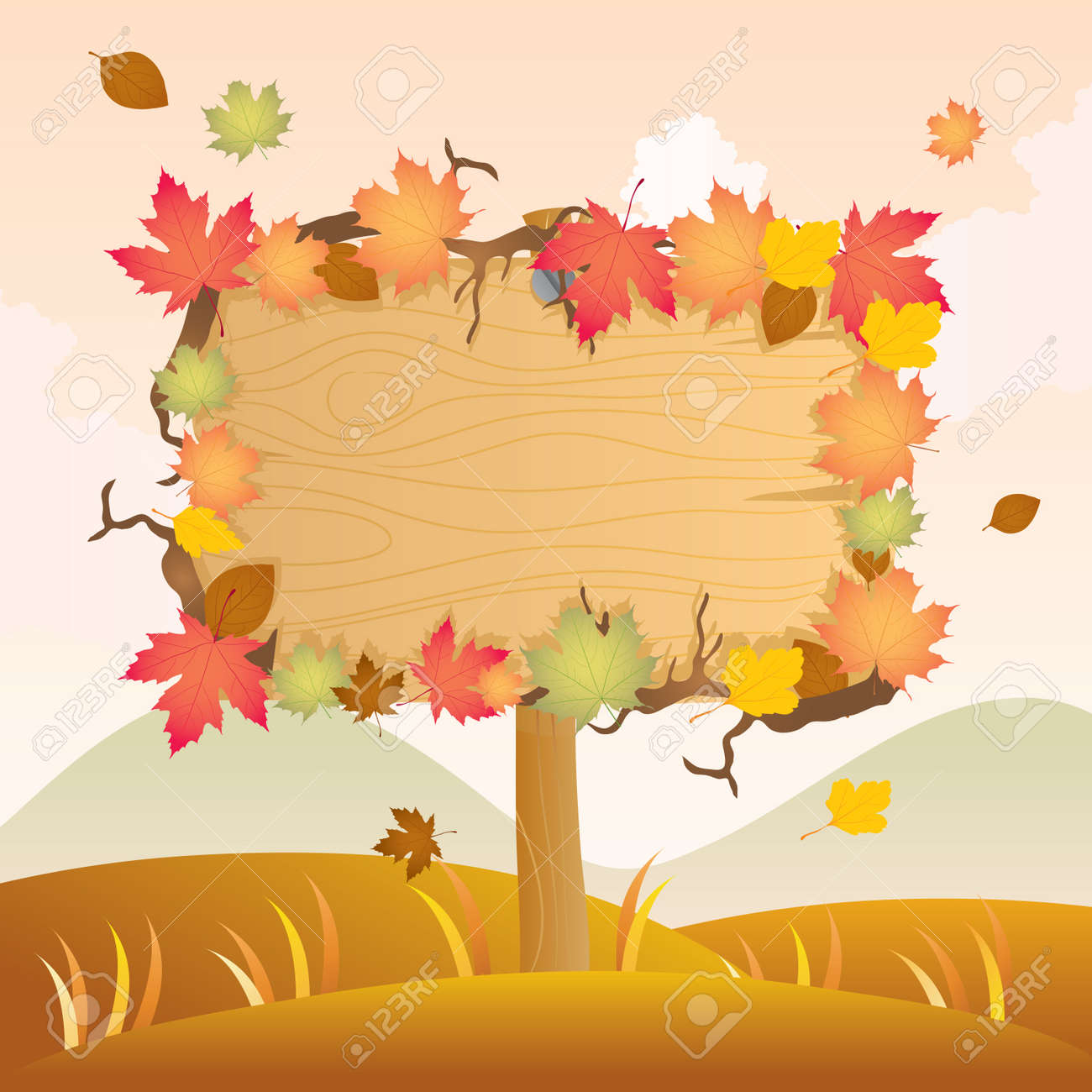 Autumn Wood Signage Stock Vector - 11068284