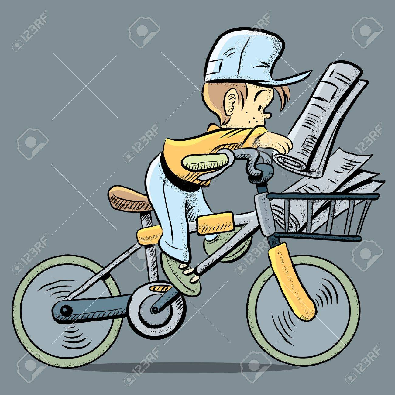 Deciding stock illustrations royalty free gograph - Selling Cute Paper Boy