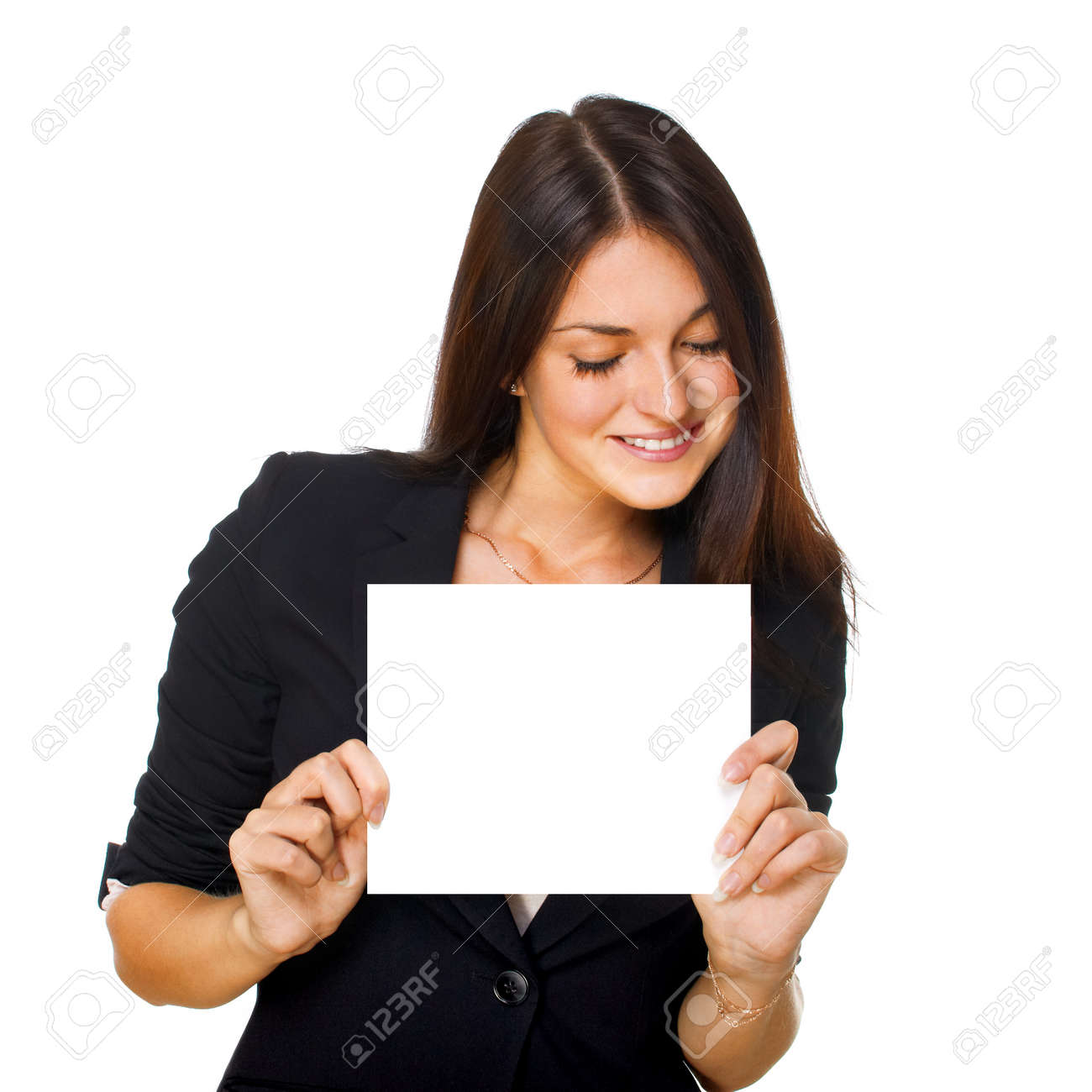 Smiling young business woman showing blank signboard, isolated on white background Stock Photo - 11261054