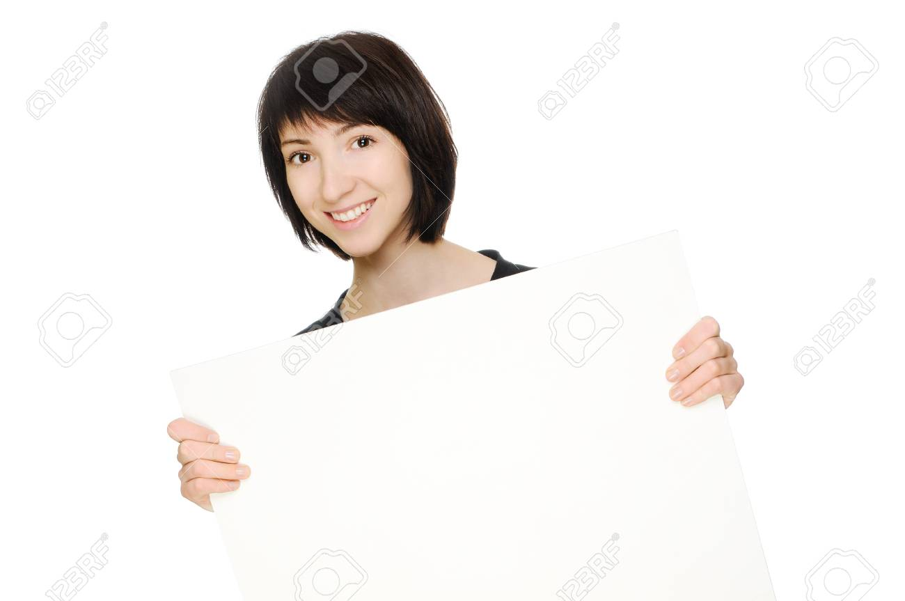 Woman with blank billboard  Isolated on white Stock Photo - 13198271