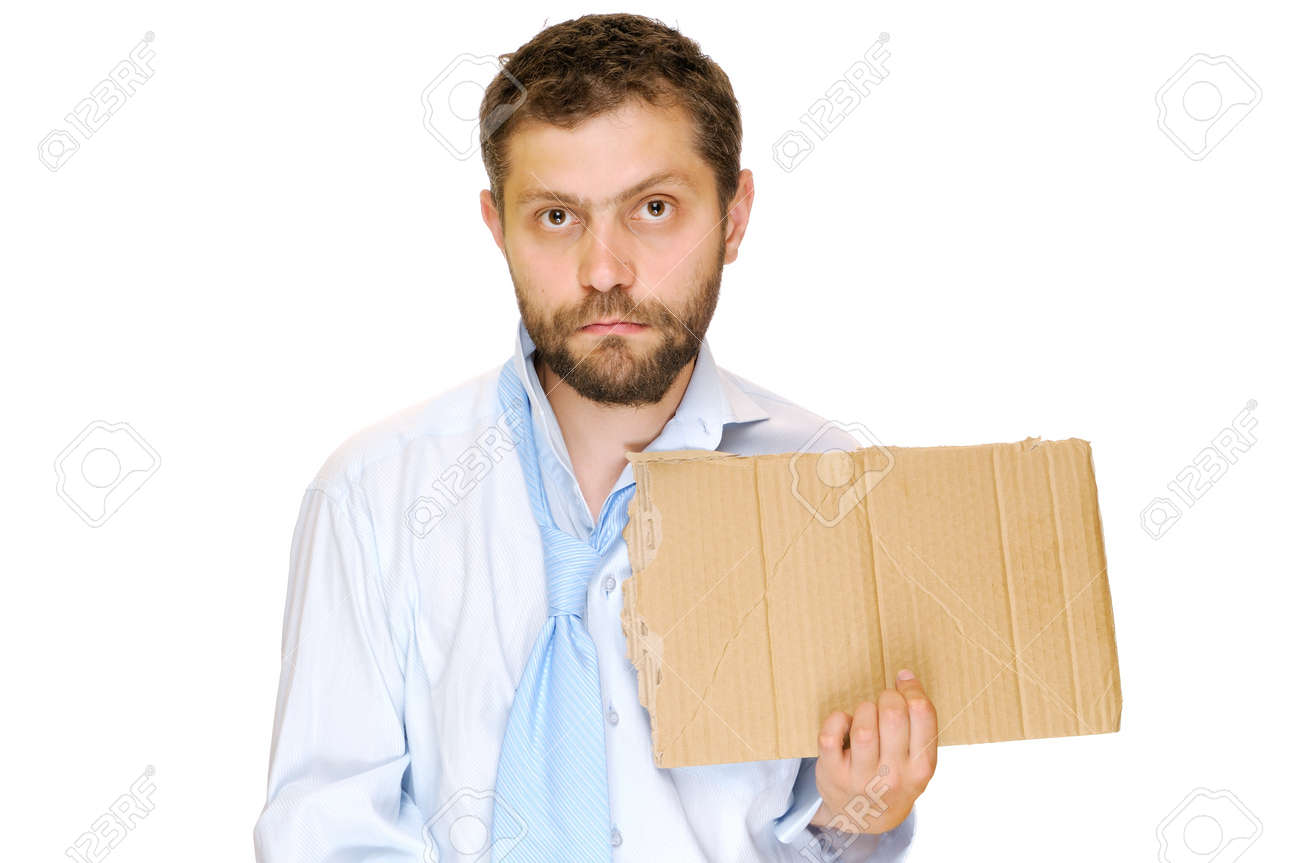 Fired businessman with messy cardboard frame  Isolated on white Stock Photo - 14284371