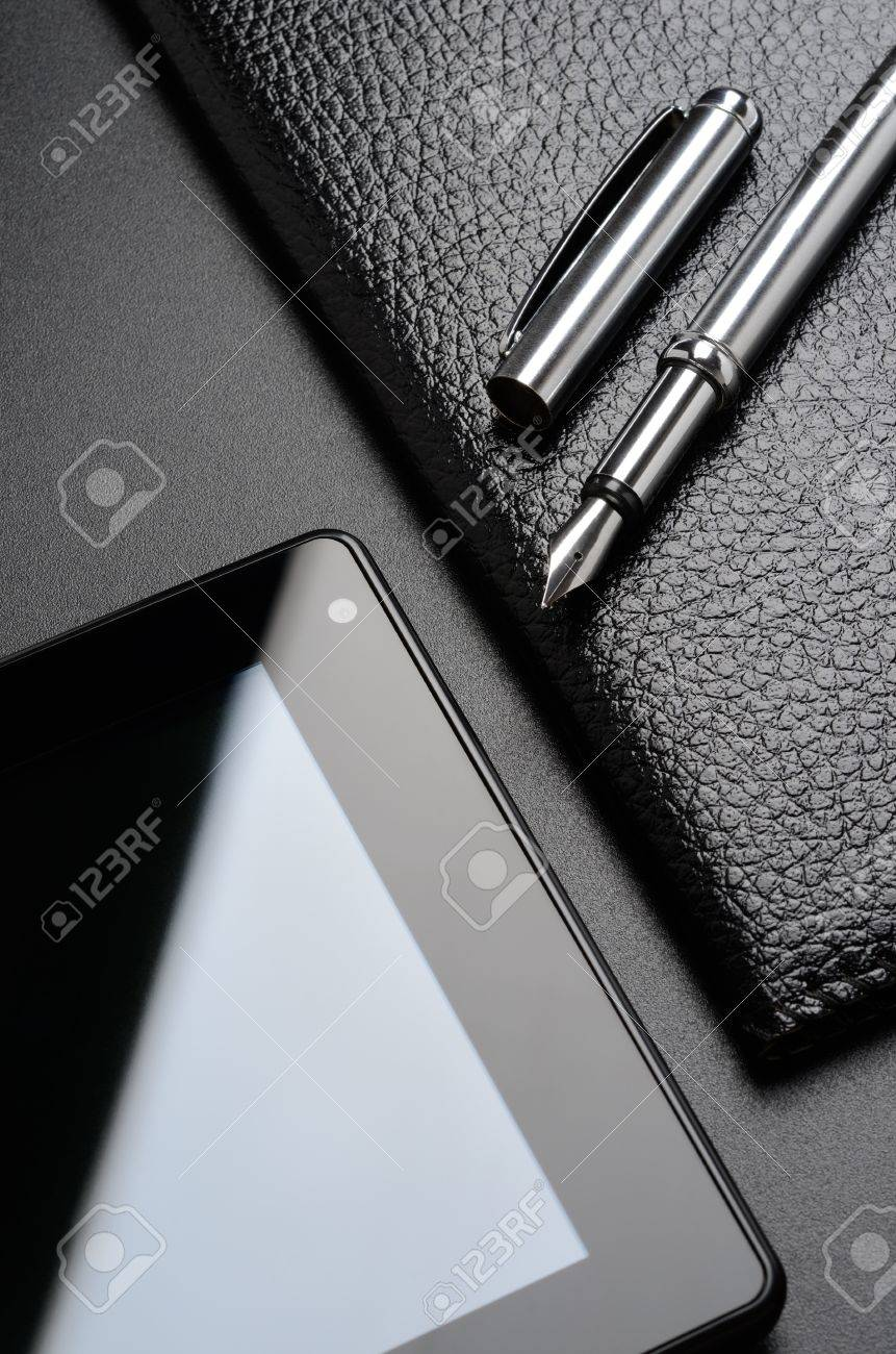 Business still life  card holder, tablet, fountain pen Stock Photo - 18818125