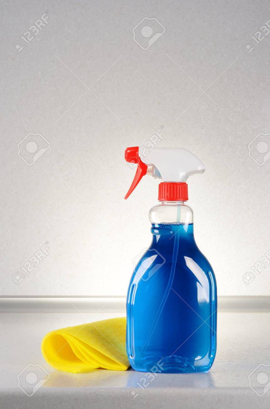 Glass Cleaner With A Cleaning Cloth On The Gray Table Stock Photo Picture And Royalty Free Image Image 18961255