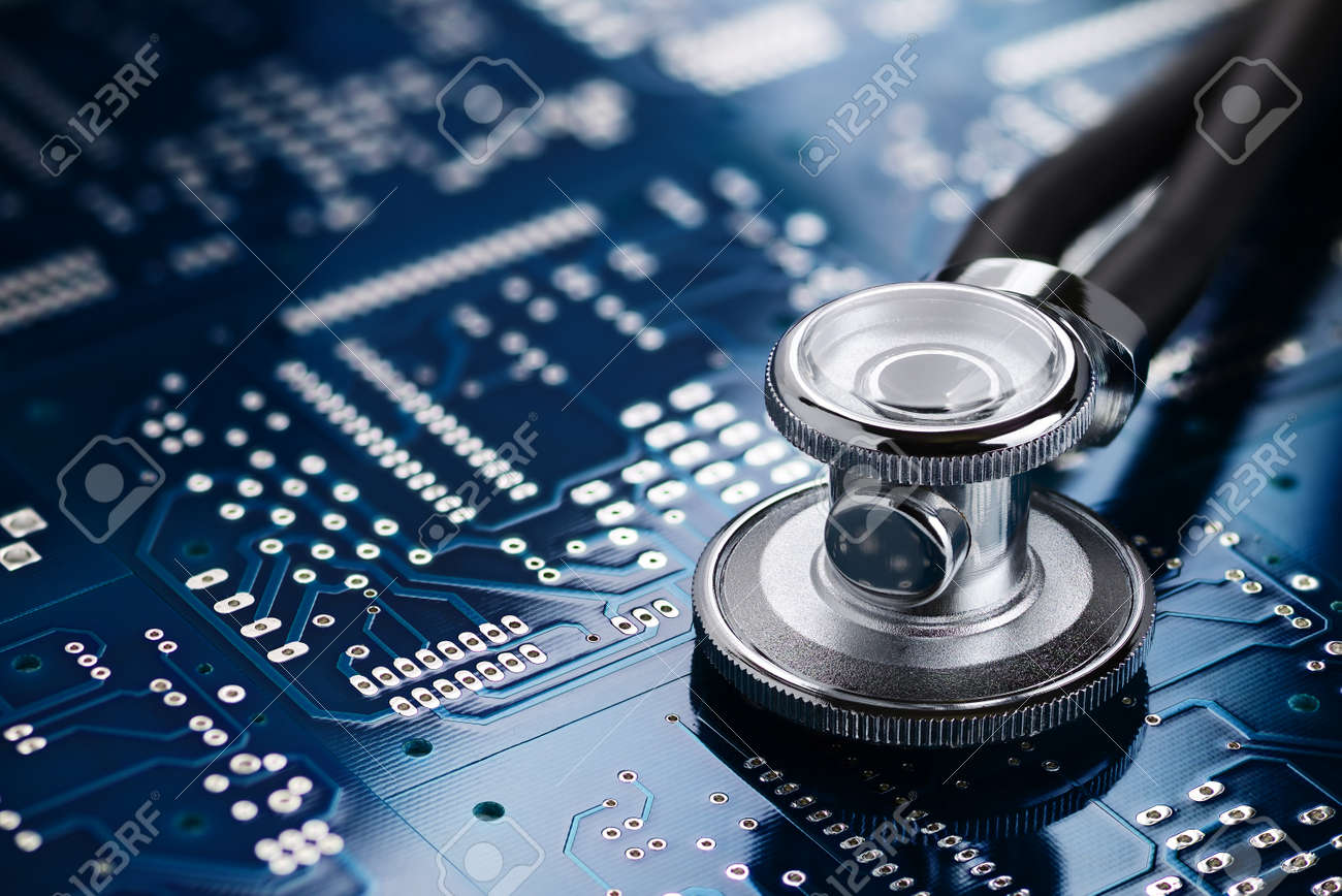 Medical stethoscope on the blue printed circuit board  Repair
