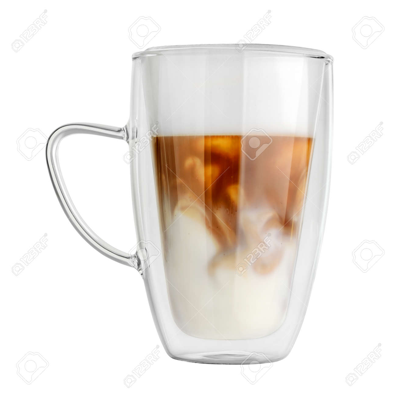Transparent Double Wall Glass Mug With Latte Coffee Isolated Stock Photo Picture And Royalty Free Image Image 125538190