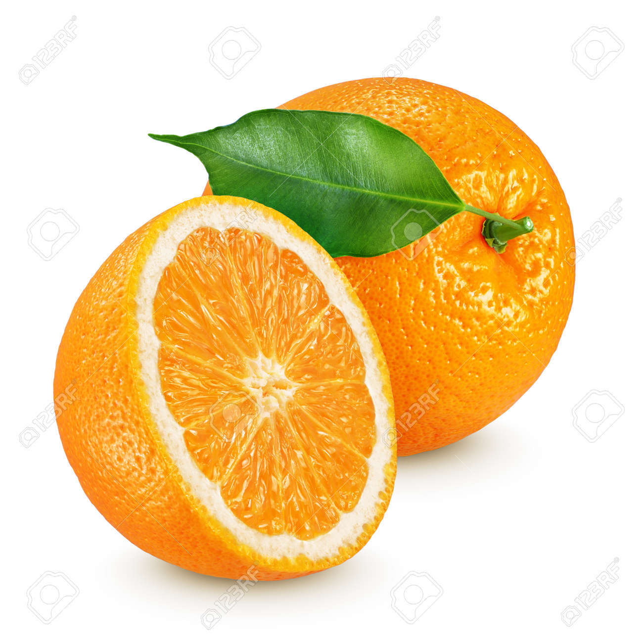 Half and whole ripe oranges fruits with leaf isolated on white background - 130356049