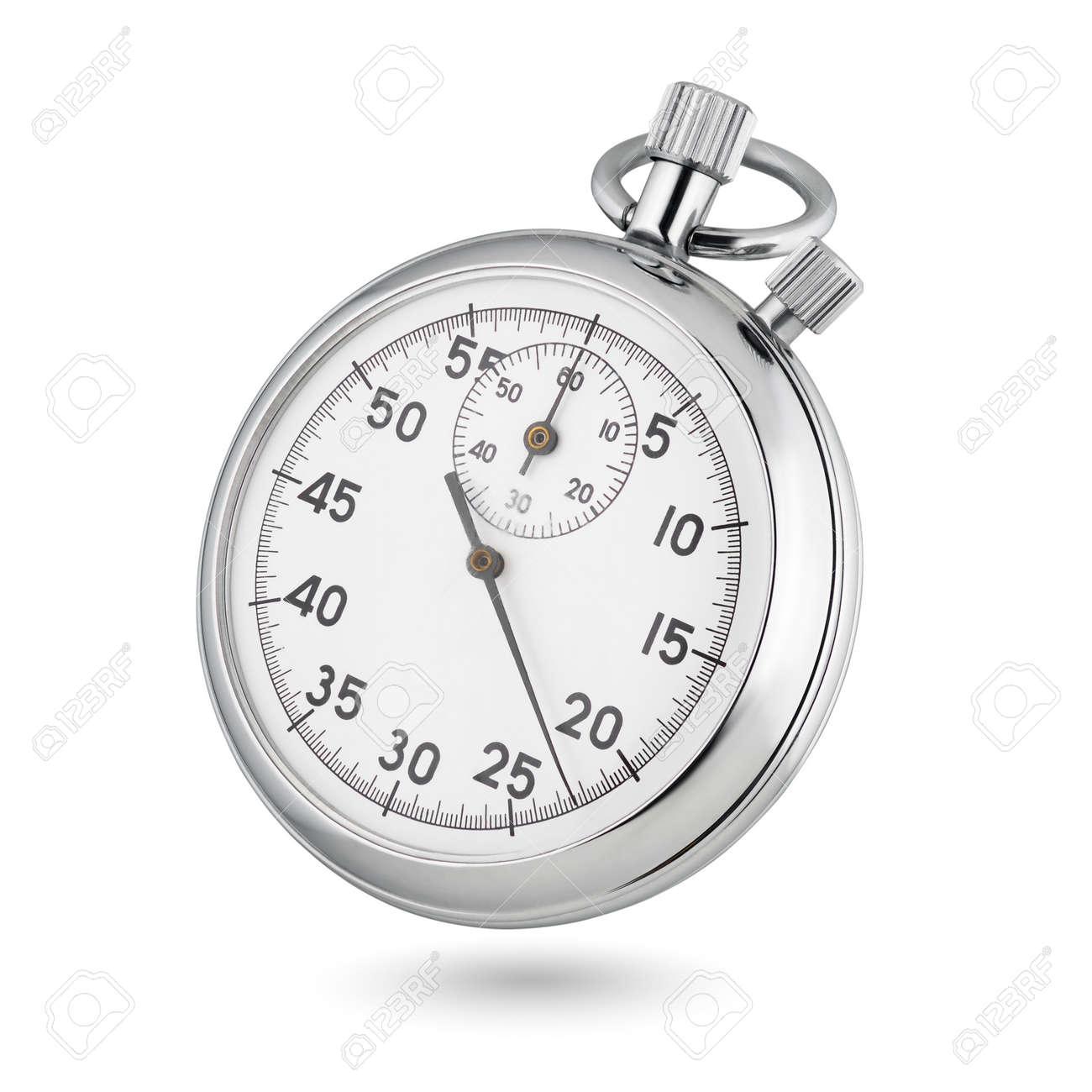 Classic metallic chrome mechanical analog stopwatch isolated on white background. - 135622782